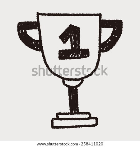 Trophy doodle drawing - stock vector