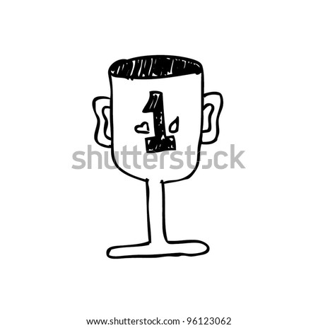 trophy first place cartoon doodle - stock vector