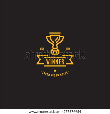 Trophy icon. Awards cup. Winner retro label.  - stock vector