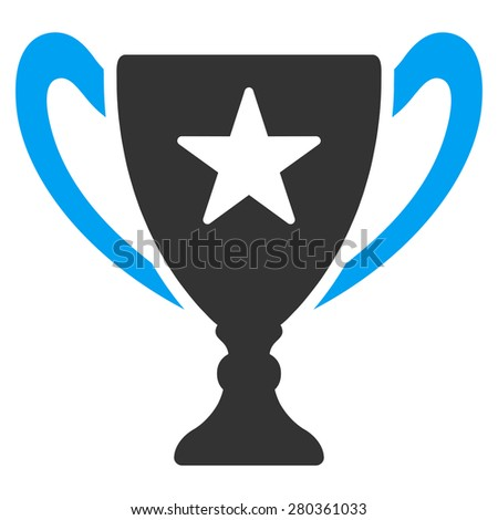 Trophy icon from Competition & Success Bicolor Icon Set. This isolated flat symbol uses modern corporation light blue and gray colors.
