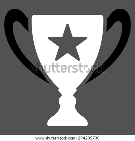 Trophy icon from Competition & Success Bicolor Icon Set. Vector style: flat bicolor symbols, black and white colors, rounded angles, gray background.