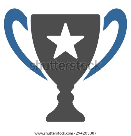 Trophy icon from Competition & Success Bicolor Icon Set. Vector style: flat bicolor symbols, cobalt and gray colors, rounded angles, white background.
