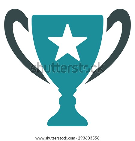 Trophy icon from Competition & Success Bicolor Icon Set. Vector style: flat bicolor symbols, soft blue colors, rounded angles, white background.