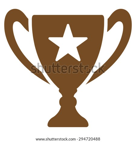 Trophy icon from Competition & Success Bicolor Icon Set. Vector style: flat symbols, brown color, rounded angles, white background.