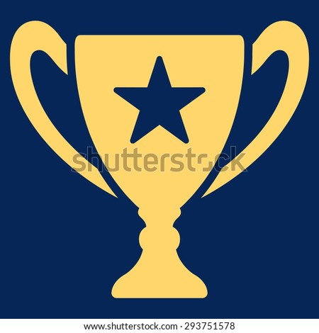 Trophy icon from Competition & Success Bicolor Icon Set. Vector style: flat symbols, yellow color, rounded angles, blue background.