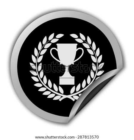 trophy icon in laurel wreath - round vector sticker