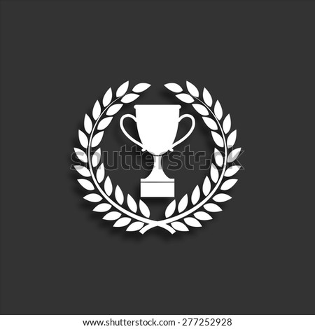 Trophy icon in laurel wreath with shadow - vector illustration - stock vector