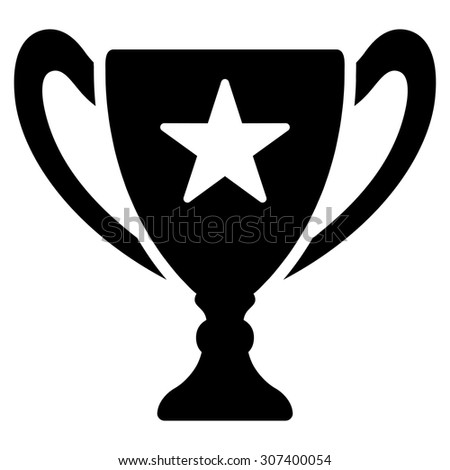 Trophy icon. Vector style is flat symbols, black color, rounded angles, white background.