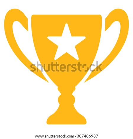 Trophy icon. Vector style is flat symbols, yellow color, rounded angles, white background.