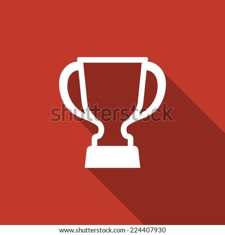 trophy icon with long shadow - stock vector