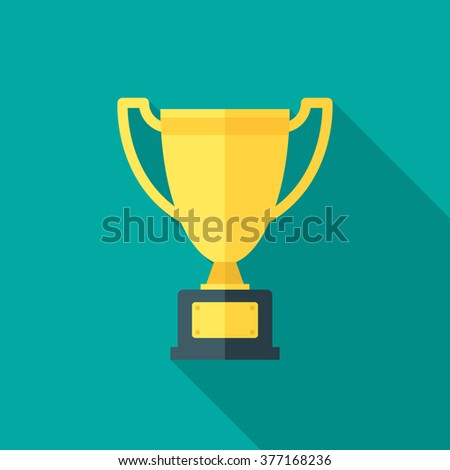 Trophy Icon With Long Shadow Flat Design Style Silhouette Simple