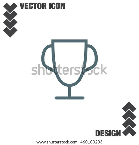 Trophy line vector icon. Winner cup icon. First place award sign. Victory achievement line symbol.