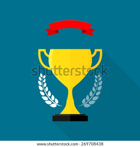 Trophy long shadow vector illustration - stock vector