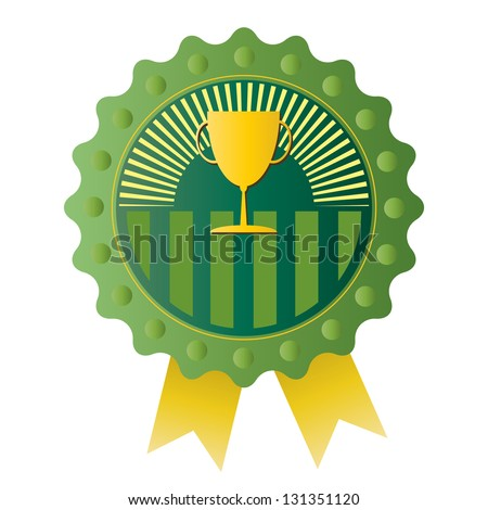 Trophy on Green badge, vector format - stock vector