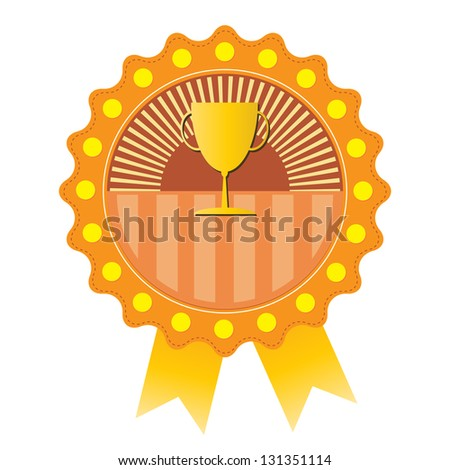 Trophy on orange badge, vector format - stock vector