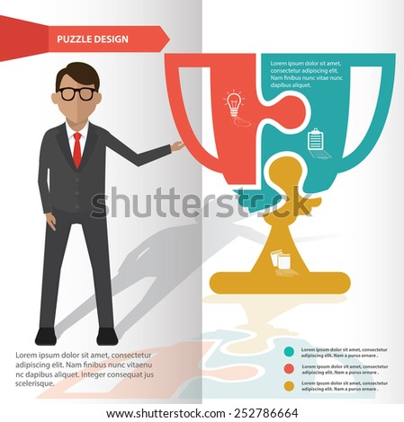 Trophy puzzle info graphic design and character,clean vector - stock vector