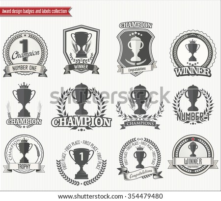Trophy retro badges collection - stock vector