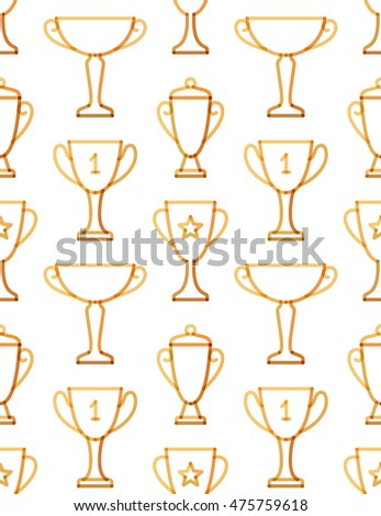Trophy seamless pattern. Transparent golden linear trophy background