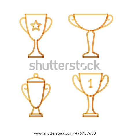 Trophy set. Transparent golden linear vector illustration