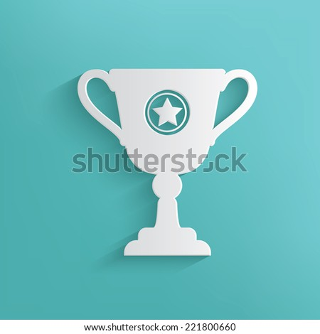Trophy symbol on blue background,clean vector - stock vector