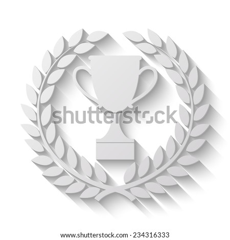 trophy vector icon in Laurel Wreath - paper illustration