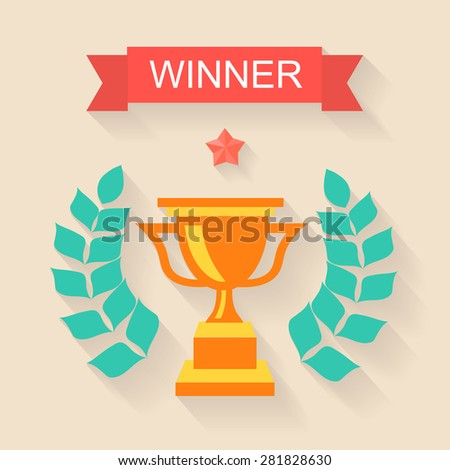 Trophy winner Ribbon in flat design vector - stock vector