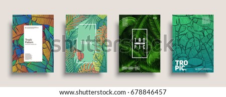 Tropic covers set. Cool floral patterns design. Eps10 vector.