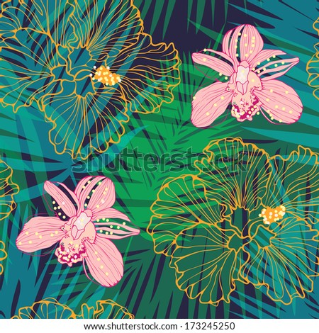 tropic floral background with pink orchids and hibiscus - stock vector