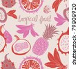 tropic fruits and seamless pattern - stock photo