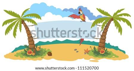 tropic island - stock vector