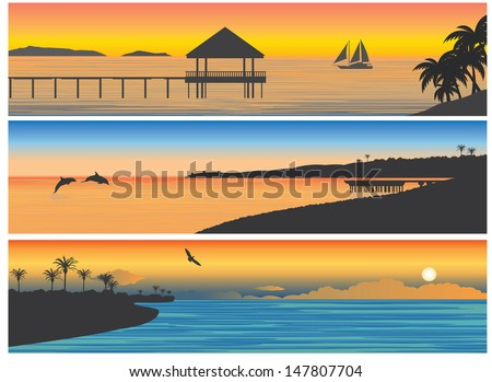 Tropic island. For you design - stock vector