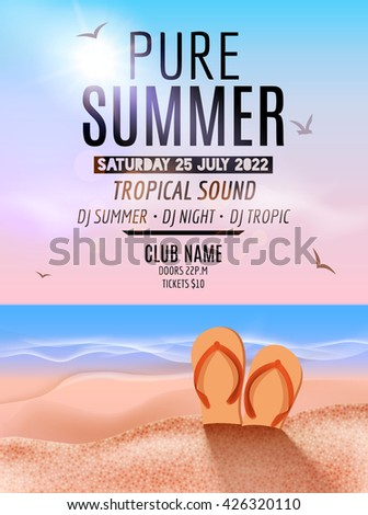 Tropic Summer Beach Party. Tropic Summer vacation and travel. Tropical poster colorful background island. Music summer party festival. DJ template - stock vector
