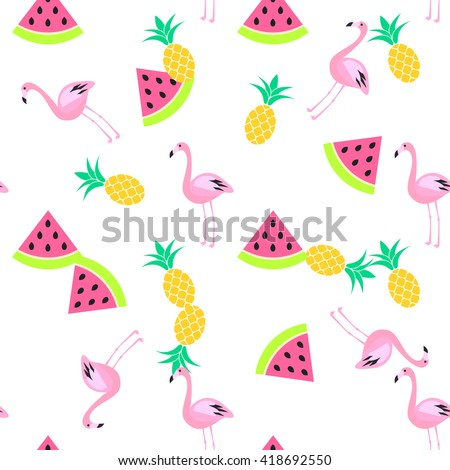 Tropic summer seamless white pattern with watermelon, flamingo and pineapples. Pink and yellow fun pattern. - stock vector