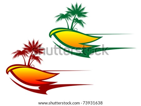 Tropical abstract background with palms and circles - also as emblem. Jpeg version also available in gallery - stock vector