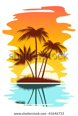 Tropical abstract background with palms and sunset. Jpeg version also available in gallery - stock vector