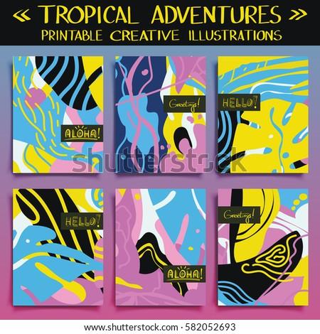 Tropical Adventures Set Six Colorful Templates Stock Photo (Photo ...