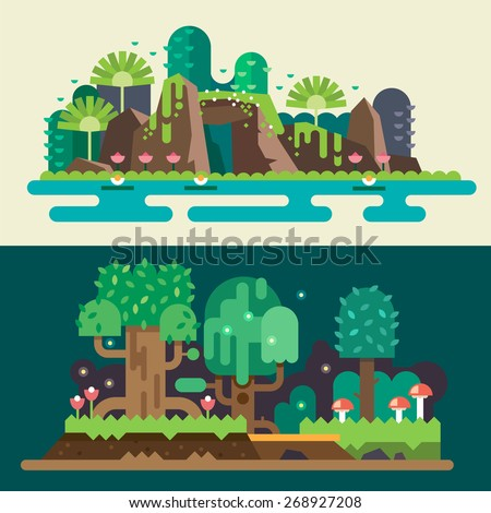Tropical and  forest landscapes: stones, lake, flowers, trees, grass, bushes, mushrooms. Magical nature. Backgrounds for game. Vector flat illustrations - stock vector