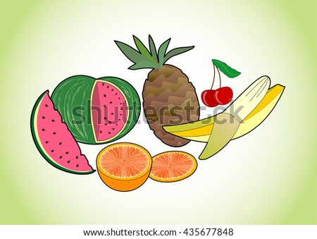 Tropical and summer juicy fruits - melon, pineapple, banana, cherry and orange, fruit pictures on green gradient background, healthy diet and summer refreshment - stock vector