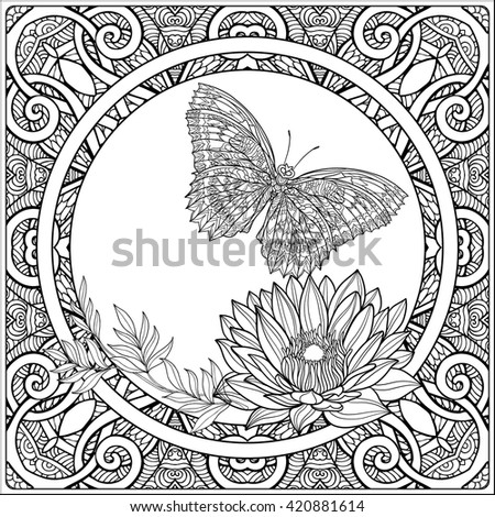 Good For Adult Coloring Book Tropical Animals And Plants On Decorative Pattern Background Outline Drawing Vector Illustration