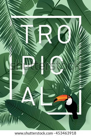 tropical background template vector/illustration