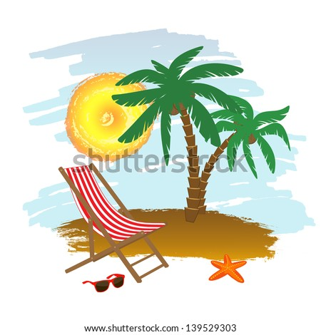 Tropical background with chaise longue and palm trees, vector illustration