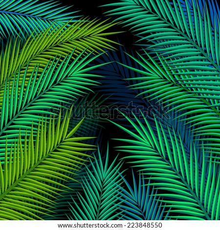 Tropical background with palm leaves. Vector illustration. - stock vector