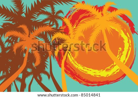 Tropical background with palms and sun