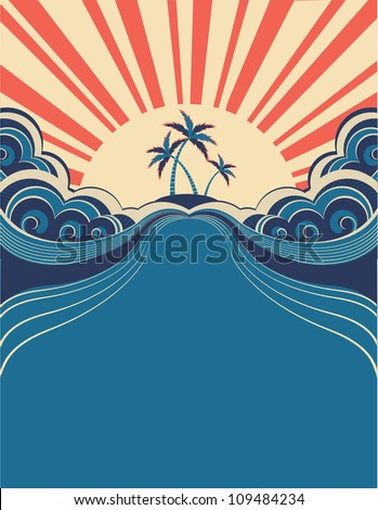 Tropical background with palms and sunshine.Vector illustration - stock vector