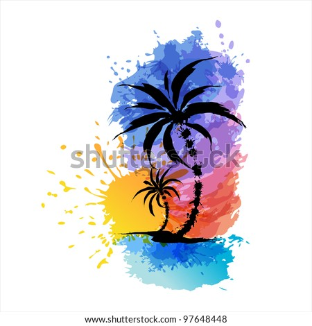 Tropical background with palms. EPS10 - stock vector