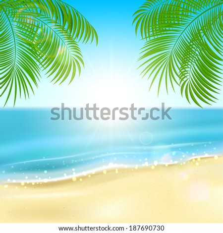 Tropical background with sandy beach, sparkling ocean and palms, illustration. - stock vector