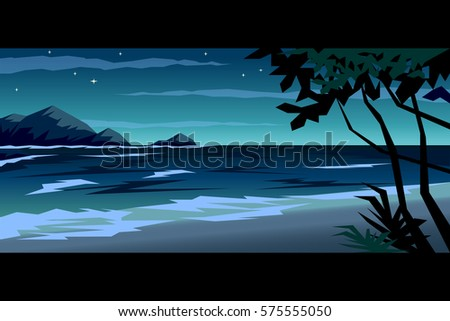 Tropical Beach At Night Landscape Vector Illustration