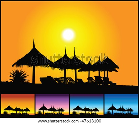 Tropical beach at sunset - stock vector
