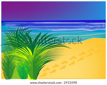 tropical beach background, also available as an illustration - stock vector