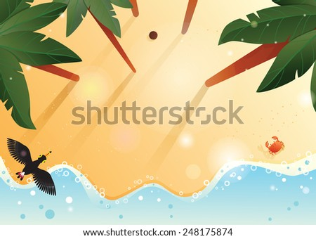 Tropical beach background with place for your graphics. Palm trees, coconut, crab near the water and toucan flying. EPS10 - stock vector
